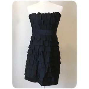 Phoebe Couture Ruffle Evening Black Dress Size 4